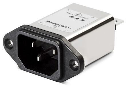 Schaffner ,6A,250 V ac Male Panel Mount IEC Filter FN9222UZ-6-06,Faston None Fuse