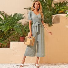 V-neck Puff Sleeve Shirred Waist Belted Ditsy Floral Palazzo Jumpsuit