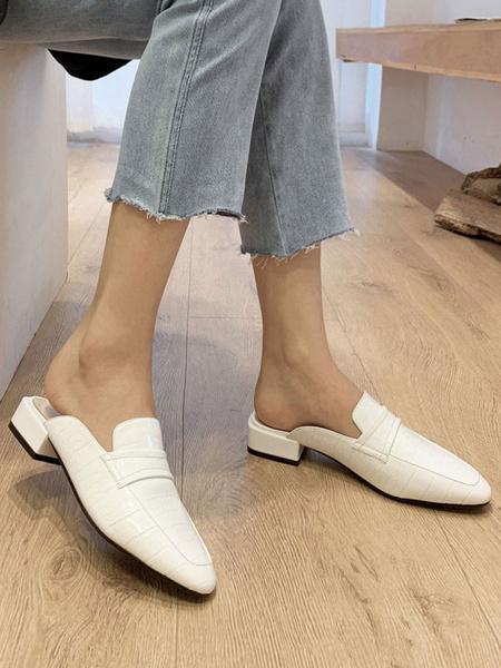 Milanoo Zuecos de mujer Zuecos Zapatos sin cordones de punta redonda de cuero blanco de PU