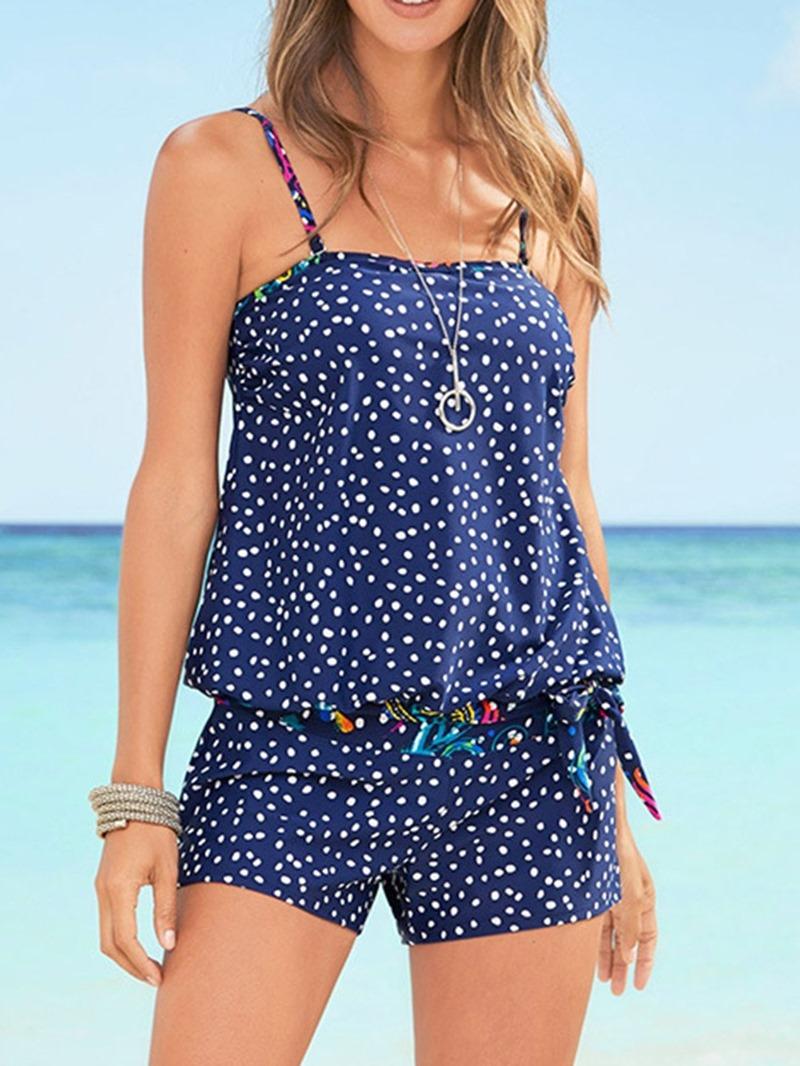 Ericdress Polka Dots Tankini Set Print Beach Look Swimsuit