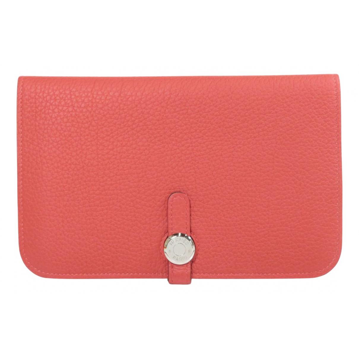 Hermes Dogon Portemonnaie in  Rot Leder