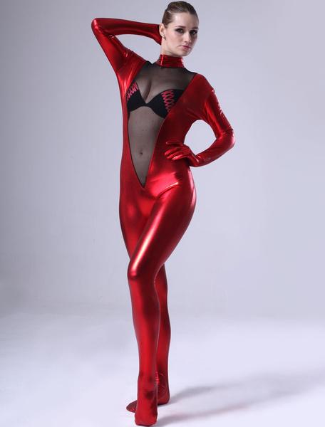 Milanoo Disfraz Halloween Mujer de rojo brillante Catsuit metalico Halloween