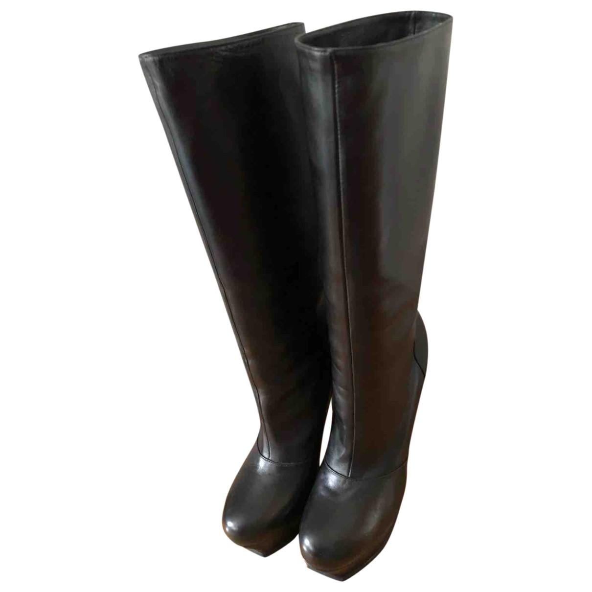 Yves Saint Laurent - Bottes   pour femme en cuir - noir