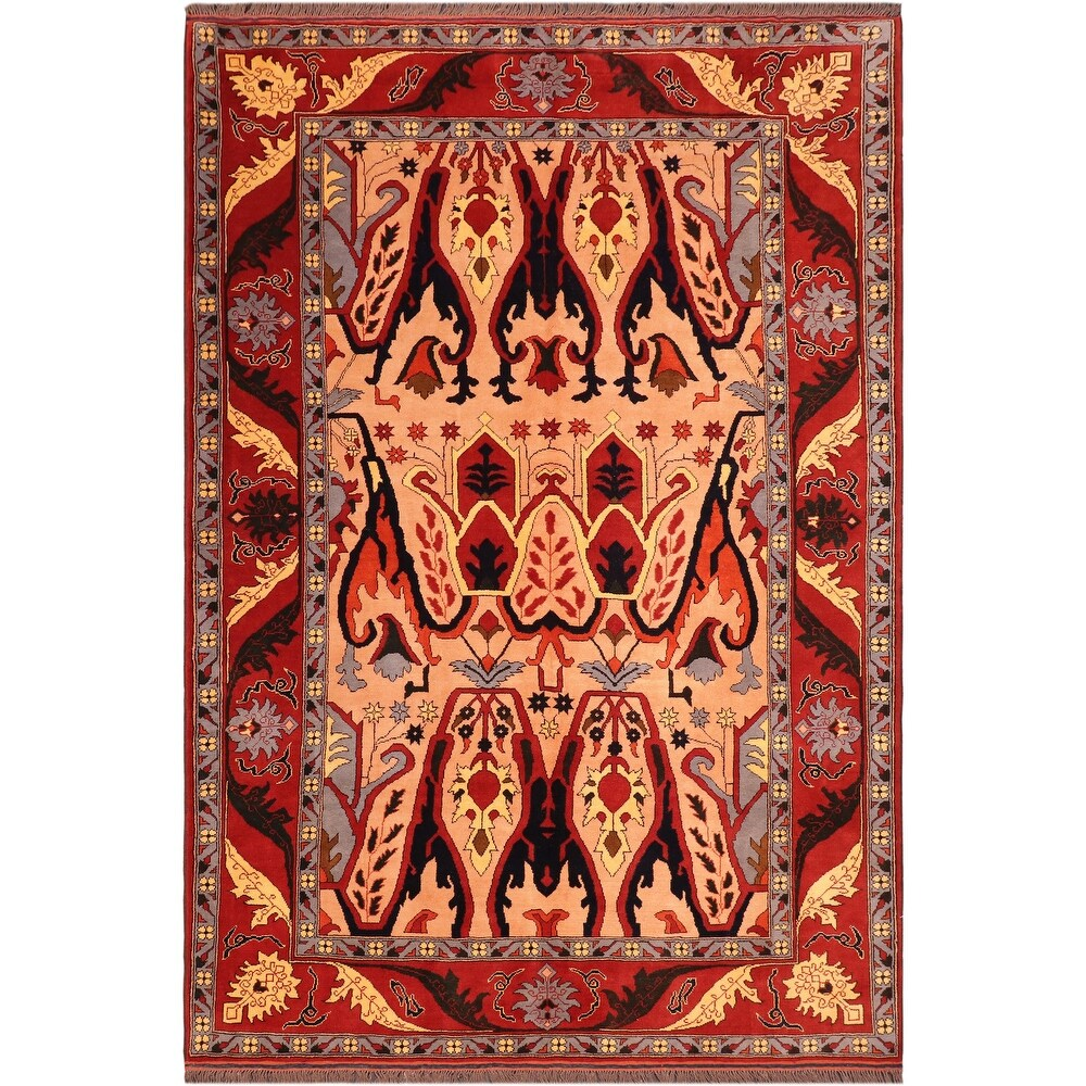 Antique Tribal Kargahi Salena Tan Red Wool Rug - 6'9 x 9'3 - 6'9