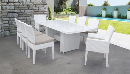 MONACO-DTREC-KIT-6ADC2DCC-BEIGE Monaco 9-Piece Outdoor Patio Dining Set with Rectangular Table + 6 Side Chairs + 2 Arm Chairs - Sail White and Beige