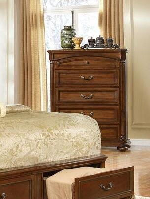 Mallory Collection MA220-CH Chest with 5 Drawers and Bun Feet in Brown