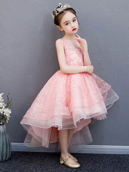 Milanoo Flower Girl Dresses V-Neck Lace Sleeveless Asymmetrical Princess Silhouette Bows Kids Party Dresses