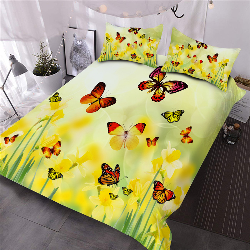 Butterflies On Yellow Flowers Printed 3-Piece Polyester Comforter Sets