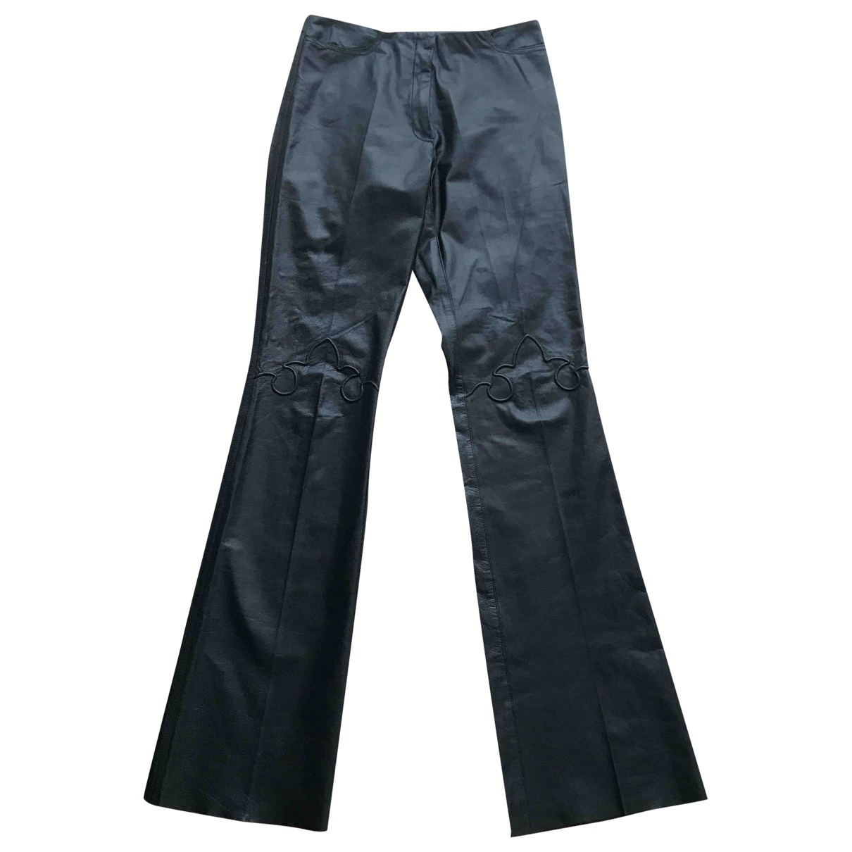 Barbara Bui \N Black Leather Trousers for Women 38 FR