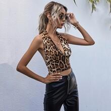 Top mit Leopard Muster, Band hinten und Neckholder