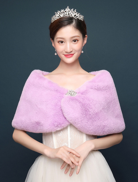 Milanoo Purple Wedding Shawl Faux Fur Wrap Bridal Jacket