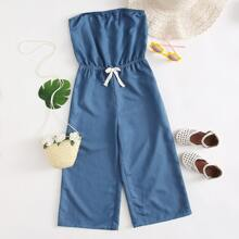 Girls Knot Front Tube Jumpsuit