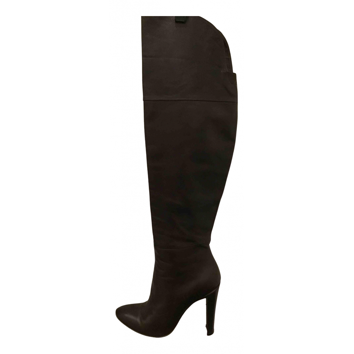 Luca Valentini N Brown Leather Boots for Women 37 IT