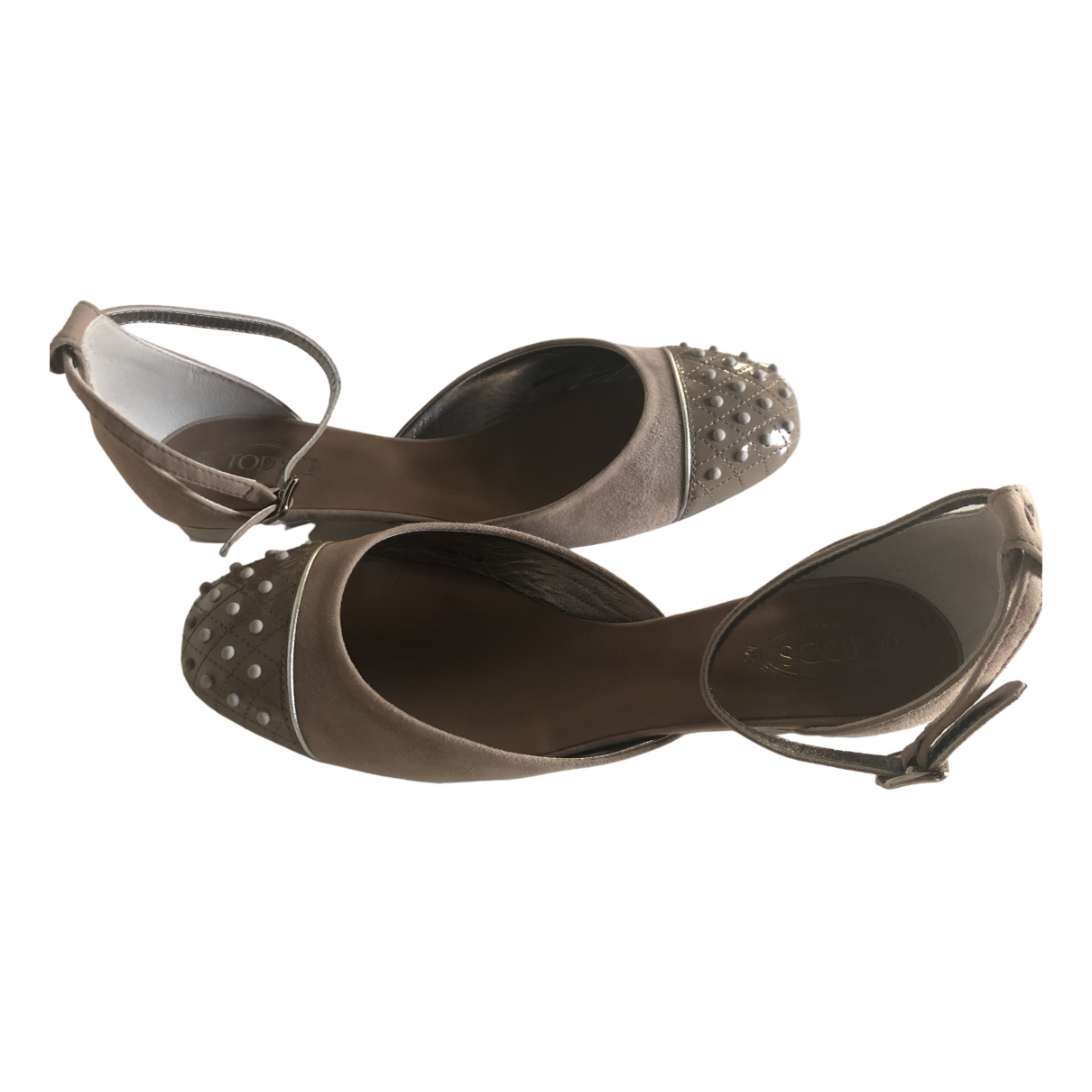Tod's \N Anthracite Leather Ballet flats for Women 38 EU