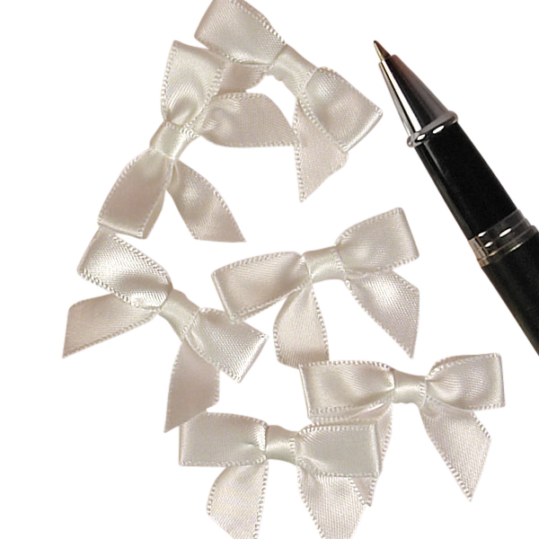 White Satin Bows 1 3/8