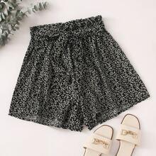 Shorts mit Bluemchen Muster, Papiertasche Taille und Guertel