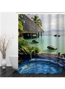 Leisurely Vacation 3D Printed Bathroom Waterproof Shower Curtain