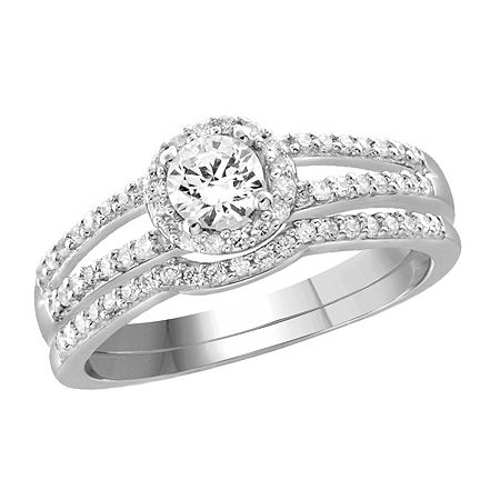 Womens 1 1/10 CT. T.W. White Cubic Zirconia Sterling Silver Engagement Ring, 6 , No Color Family