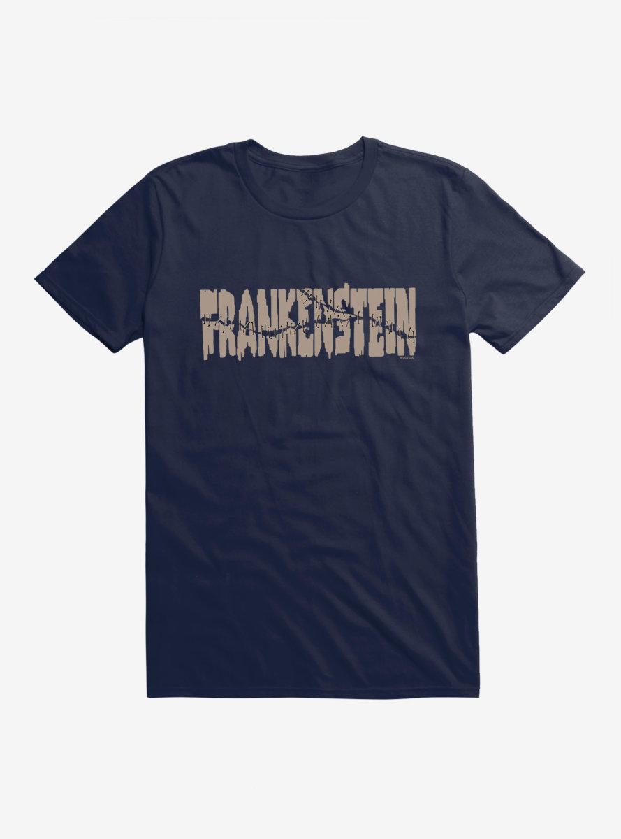 Universal Monsters Frankenstein Font Stitches T-Shirt