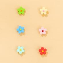 3pairs Toddler Girls Floral Stud Earrings