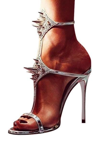 Milanoo Sandalias de tacon bajo plata remaches de punta abierta sandalias atractivas de tiras para las mujeres