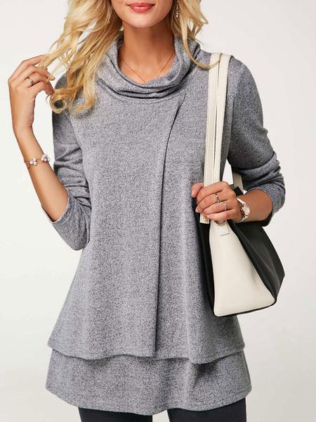 Milanoo Oversized Pullover Sweatshirt Women Layered Long Sleeve Cowl Neckline Top For Women