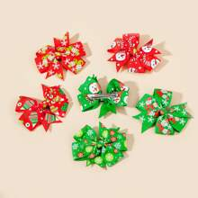 6 piezas horquilla con patron de navidad de niñitas