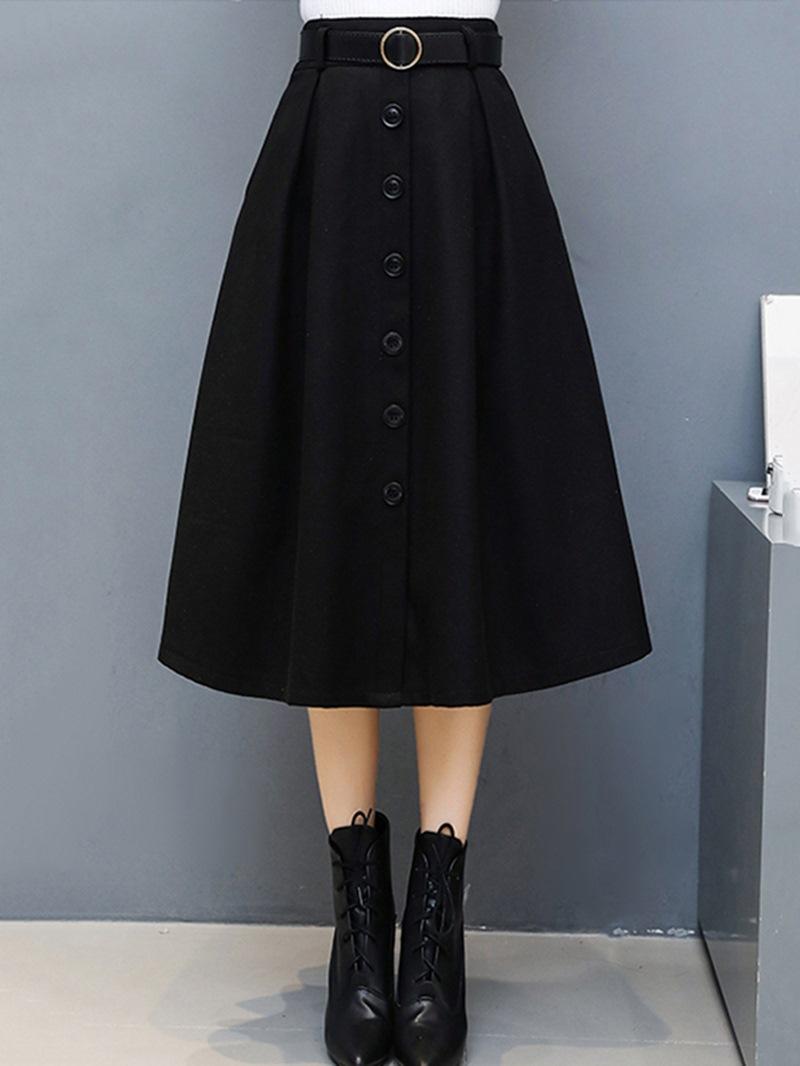 Ericdress Expansion Mid-Calf Button High Waist Skirt
