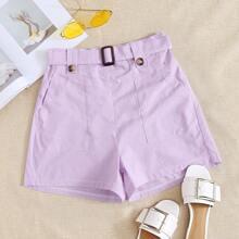 Shorts mit Schnalle Guertel und Tasche Flicken
