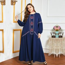 Plus Tribal Embroidered Tunic Dress