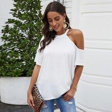 Camisetas Asimetrico Liso Blanco Casual