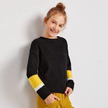 Girls Drop Shoulder Colorblock Sweater