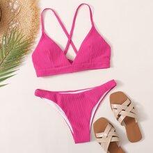 Texturierter Bikini Badeanzug mit Kreuzgurt und Band hinten