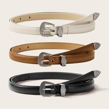 3pcs Solid PU Buckle Belt