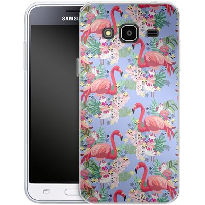 Samsung Galaxy J3 (2016) Silikon Handyhuelle - Flamingo Tropical von Mukta Lata Barua