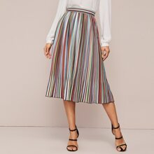 High Waist Colorful Striped Midi Skirt