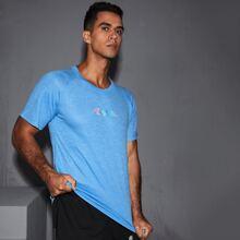 Men Letter Graphic Raglan Sleeve Sports Tee