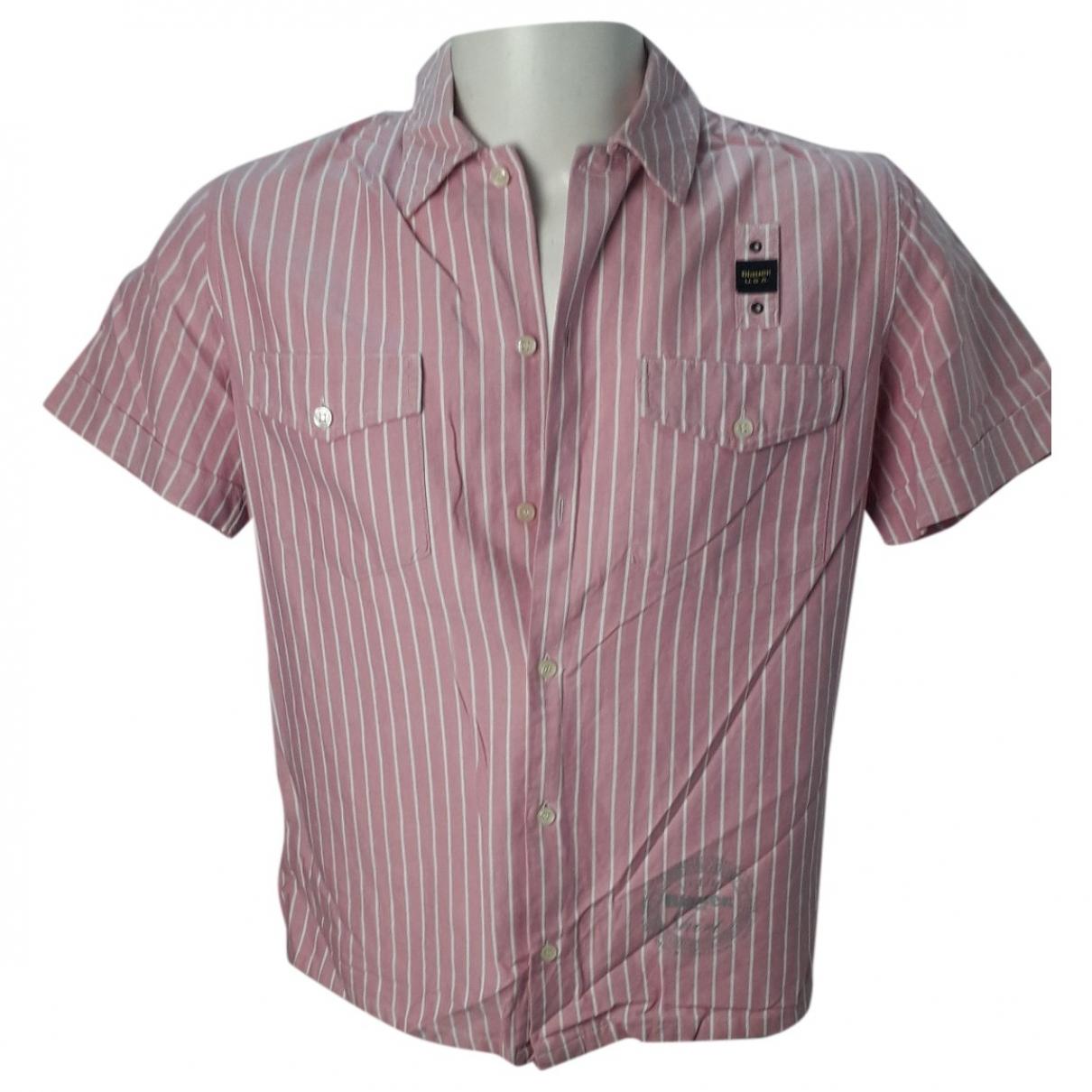 Blauer \N Hemden in  Rosa Baumwolle