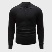 Einfarbiger Pullover mit halber Knopfleiste