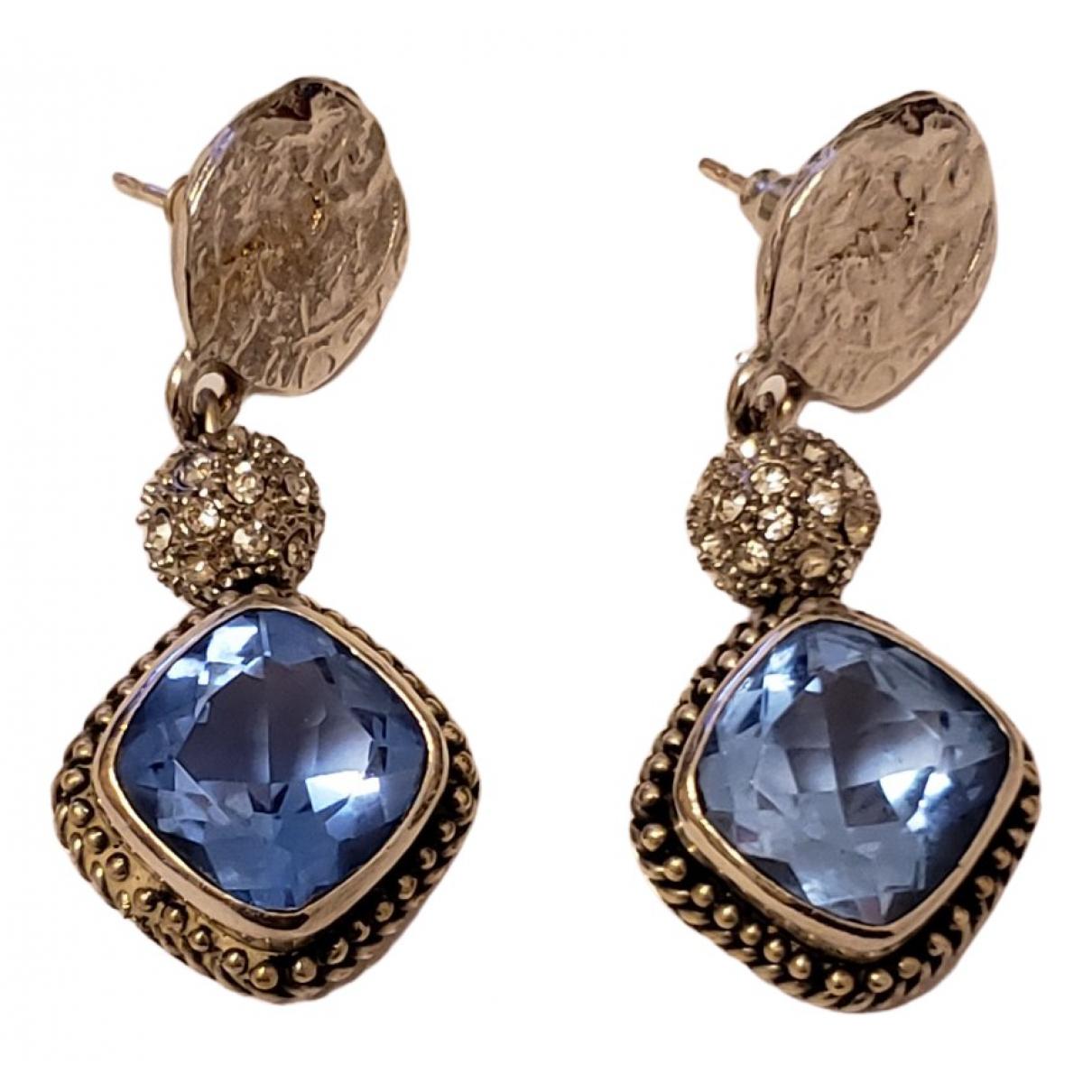 - Boucles d'oreilles   pour femme en argent - bleu