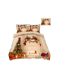 Christmas Tree and Presents Printing 4-Piece 3D Bedding Sets/Duvet Covers