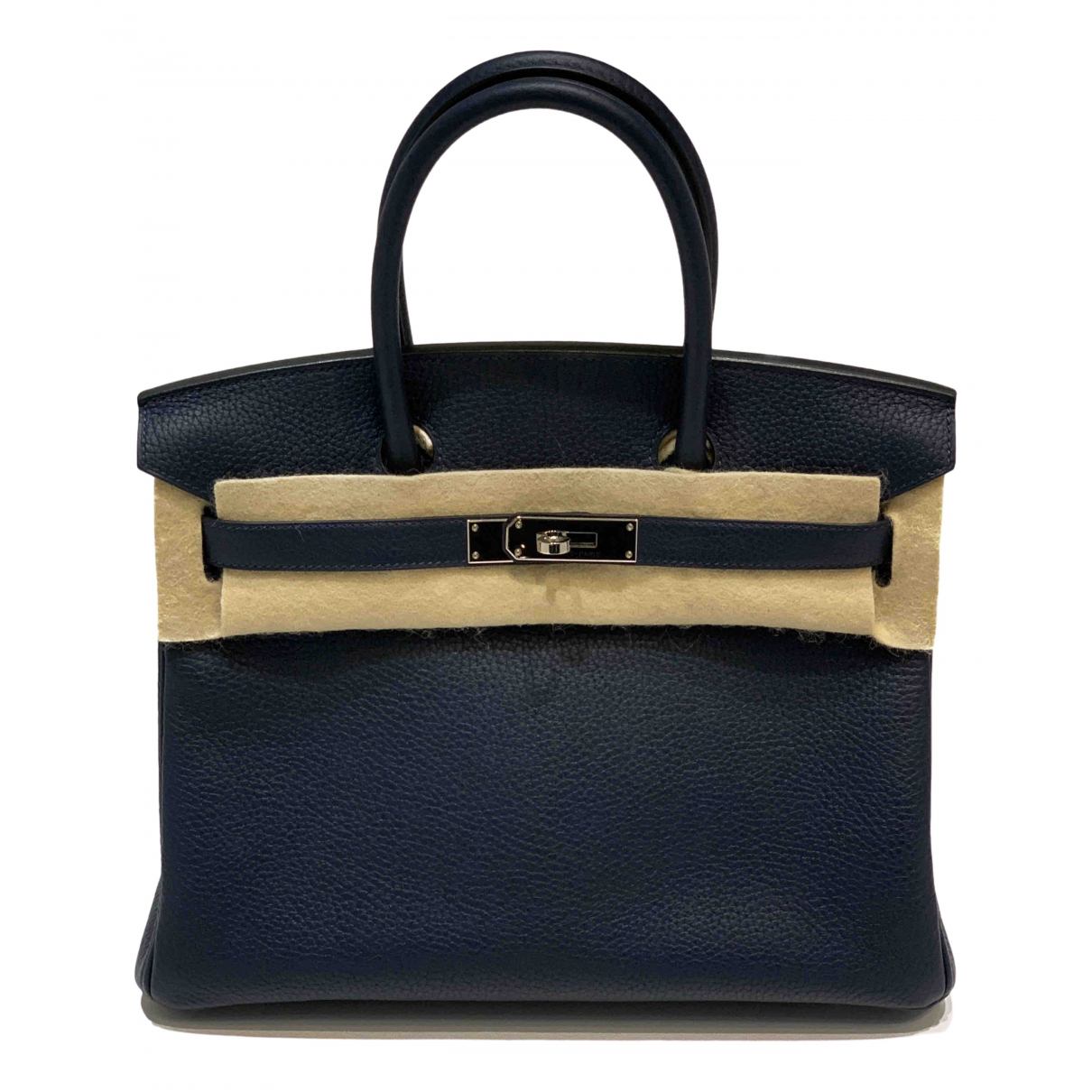Hermes Birkin 30 Handtasche in  Blau Leder