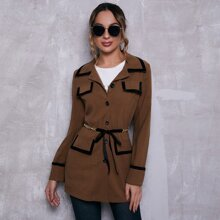 Collared Flap Detail Contrast Trim Coat With Chain Belt