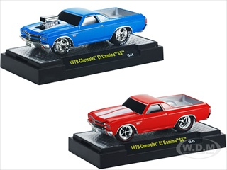 Ground Pounders 1970 Chevrolet El Camino Red & Blue 2 Cars Set IN BLISTER PACK 1/64 Diecast Model Cars by M2 Machines