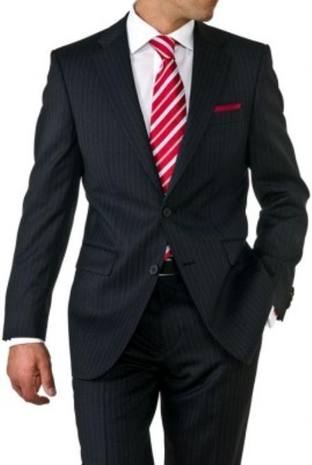 Mens Two Button Black Pinstripe Suit