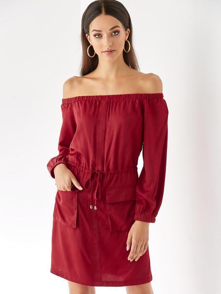 YOINS Burgundy Pocket Off The Shoulder Long Sleeves Dress