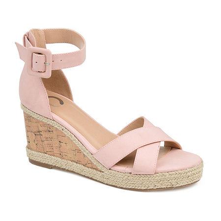 Journee Collection Womens Telyn Open Toe Wedge Heel Pumps, 7 Medium, Pink