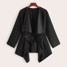 Waterfall Collar Asymmetrical Hem Coat With Belt