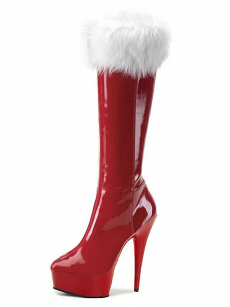 Milanoo Red Xmas Sexy Platform Boots Women Fur Trim High Heel Boots Winter Shoes
