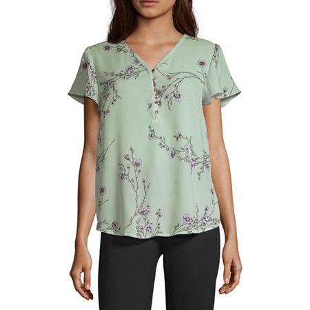 Liz Claiborne Womens V Neck Short Sleeve Blouse, X-large , Green